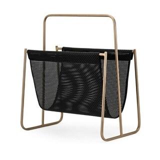 "18.75"" Black and Metallic Golden Finish Modern Styled Decorative Magazine Rack"