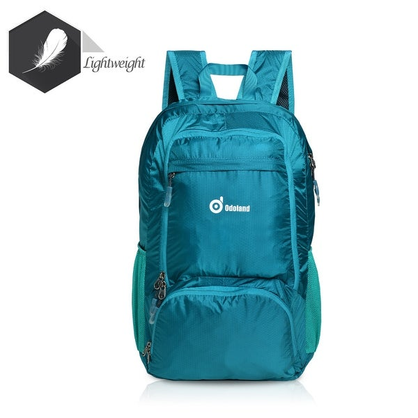 Foldable Lightweight 35L Backpack Multiple Storage Compartments Folding Daypack Water Resistant Fabric Outdoor Green