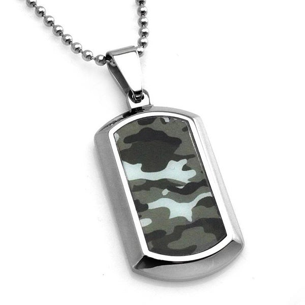 Stainless Steel Ocean Blue Camouflage Dog Tag Pendant - 24 inches