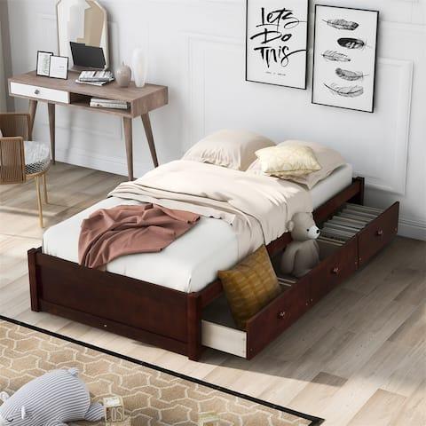 Merax Twin Platform Storage Bed with 3 Drawers