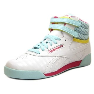Reebok Freestyle Hi Youth Round Toe Synthetic White Sneakers