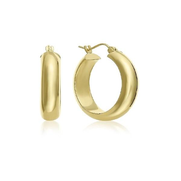 Mcs Jewelry Inc 14 KARAT YELLOW GOLD CLASSIC HALF ROUND HOOP EARRINGS (DIAMETER: 20MM)