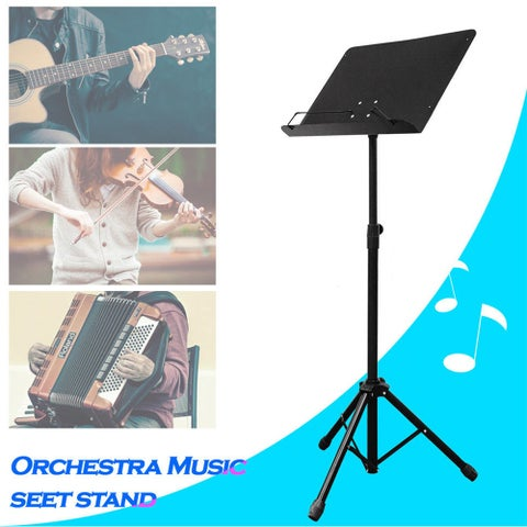 PARTYSAVING Orchestra Sheet Music Stand with Heavy Duty Black Metal Folding Design
