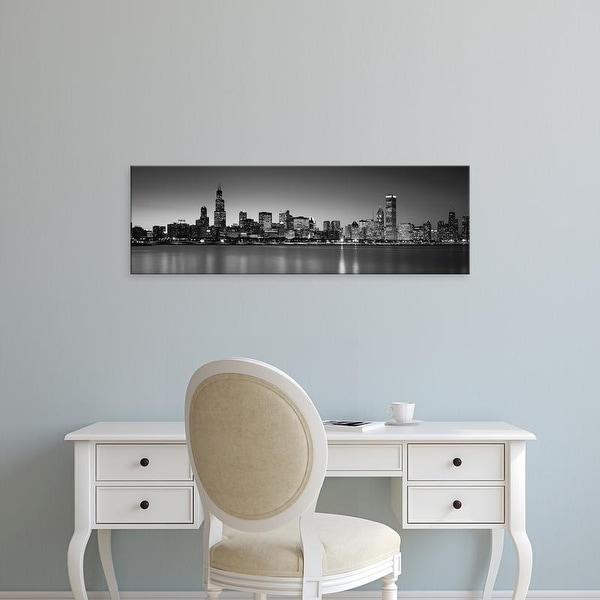 Easy Art Prints Panoramic Images's 'Dusk, Skyline, Chicago, Illinois, USA BW Black and White' Premium Canvas Art