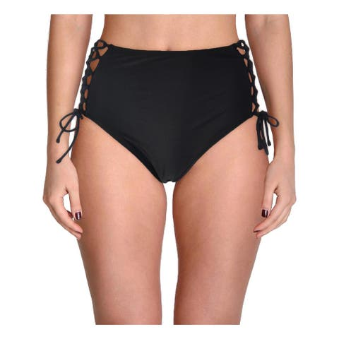 Bebe Womens High Waist Side Lace-Up Swim Bottom Separates - Black