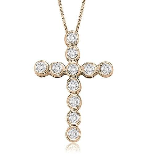 0.75 cttw. 14K Rose Gold Bezel Diamond Cross Pendant - White H-I