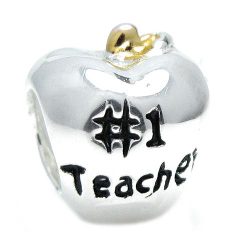 Gold on Sterling Silver Number 1 Teacher Apple of for Charm Bracelets