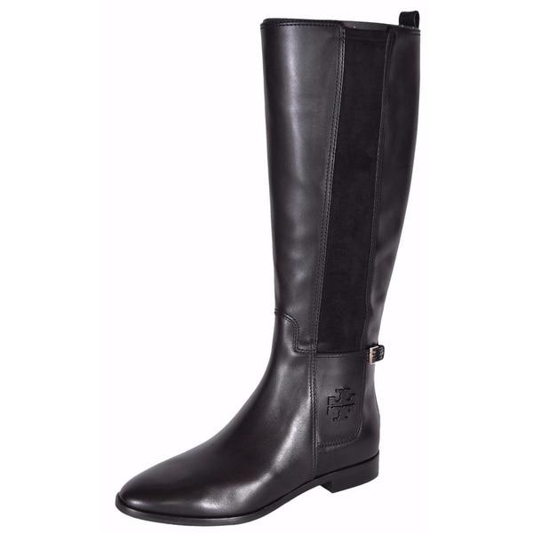 ac71d18362958 Tory Burch Women  x27 s Black Leather Wyatt Knee High T Logo Riding Boots