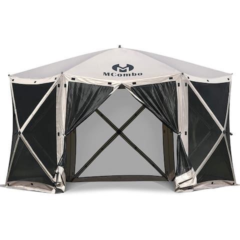 Mcombo 6-Sided Gazebo Portable Pop Up Tent Canopy, Shelter Hub Screen Tent for Outdoor Party (6-8 Persons), 1024-6PC
