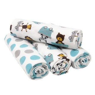 Bedtime Originals Choo Choo Blue/White/Gray Animal and Dot Print 4-Pack of Soft Flannel Receiving Blankets