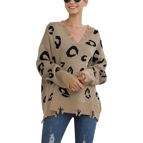 Women's Leopard Print Long Sleeve Sexy Knit Hole Pullover Sweater