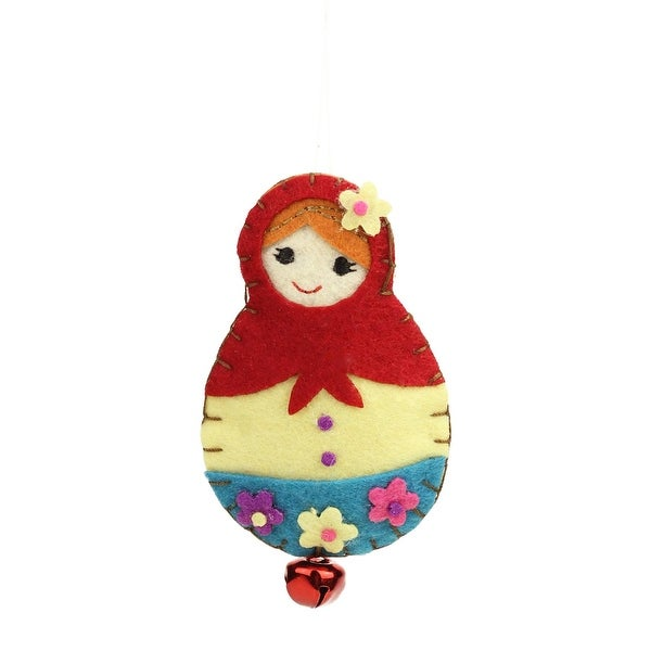 "4"" Red, Cream and Blue Plush Felt Doll with Jingle Bell Christmas Ornament"