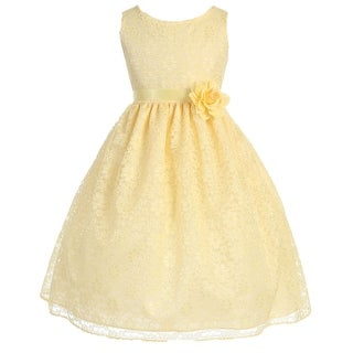 Floral Pattern Lace Flower Girl Dress Yellow CA 749