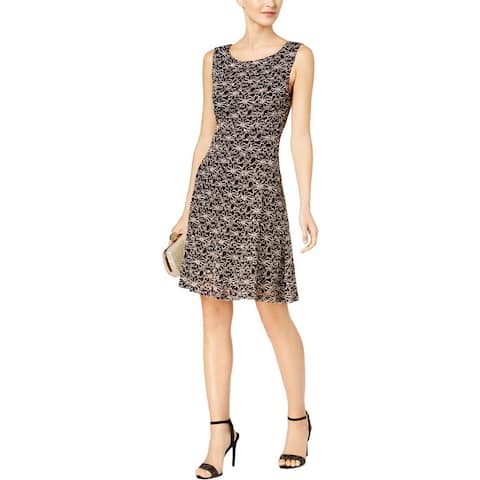Connected Apparel Womens Midi Dress Embellished Lace