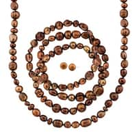 Brown Freshwater Cultured Pearl Necklace, Earring & Bracelet Set with Sterling Silver