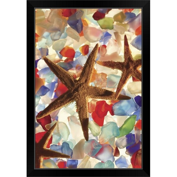 """Starfish and colored stones"" Black Framed Print"