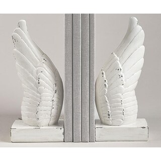 Set of 2 Wing and Prayer Distressed White Cherub Angel Wings Religious Bookends 9.75""