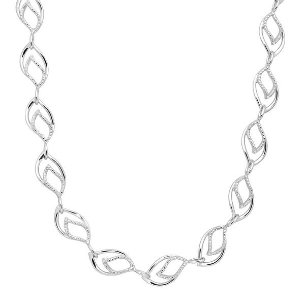 Marquise Link Necklace with Diamonds in Sterling Silver
