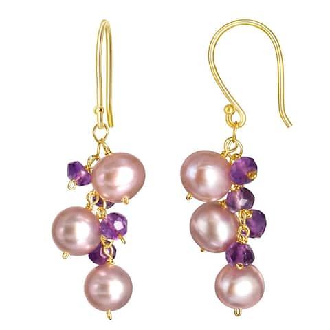 14K Pink Pearl Amethyst Hook Earring