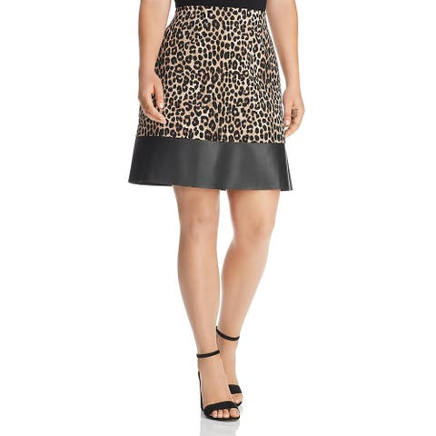 MICHAEL Michael Kors Womens Plus Mini Skirt Cheetah Faux Leather Trim - Dark Camel