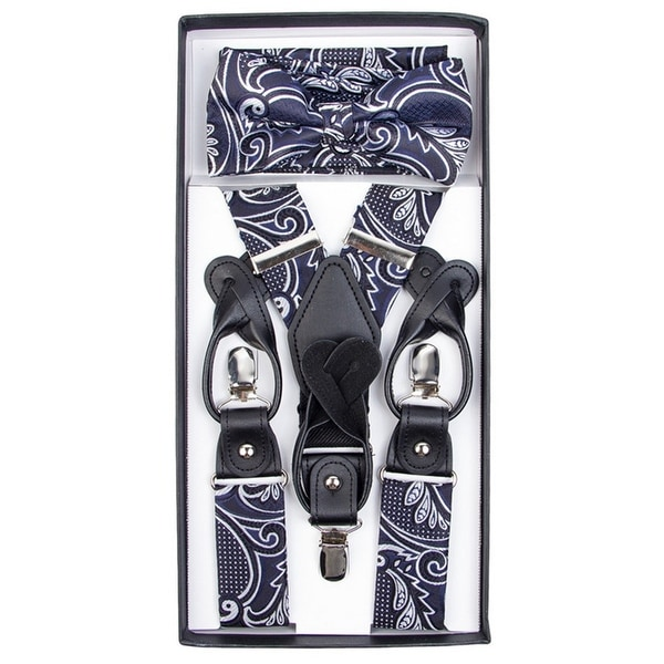 Men's Navy And White Paisley Convertible Suspenders, Bow Tie and Hanky Set - One Size Fits most