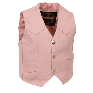 Girls Leather Basic Four Snap Vest