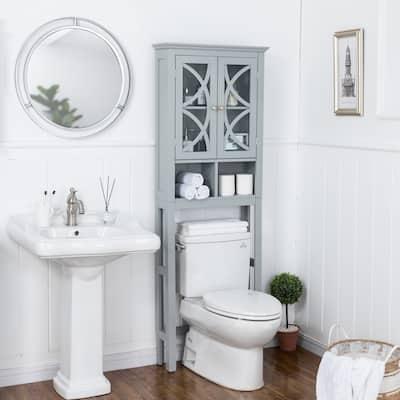 Glitzhome 5.7FT Modern Gray Bathroom Cabinet Spacesaver