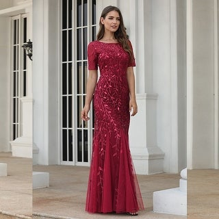 Ever-Pretty Womens Tulle Sequin Fishtail Elegant Long Formal Evening Party Dress 07707