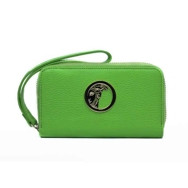 Versace Collection Lime Green Grained Leather Zip Around Continental Wallet