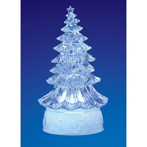 "Pack of 4 Icy Crystal Illuminated Traditional ChristmasTree Figurines 9"" - CLEAR"