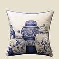 """Luxury Blue Four Vase Printing Pillow 18""""X18"""" - Thumbnail 1"""