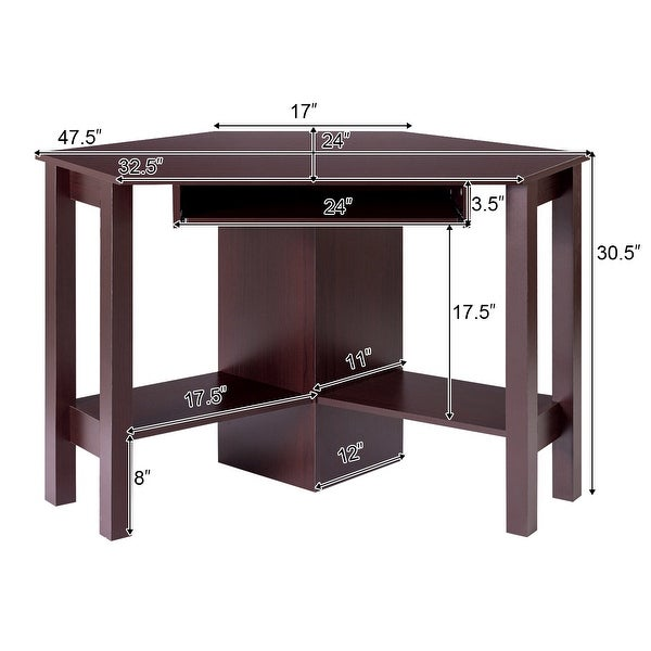 Wooden Corner Computer Desk with Drawer Office Study Table