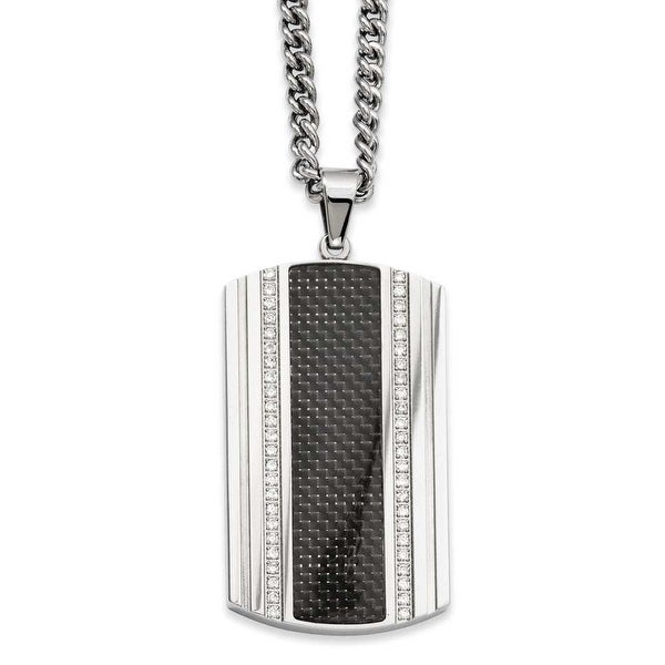 Stainless Steel Black Carbon Fiber & CZ Dogtag Pendant 24in Necklace (3 mm) - 24 in