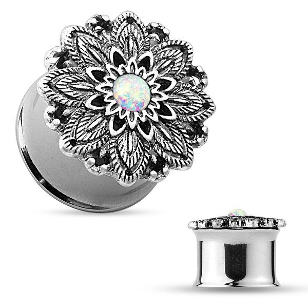 Opal Center Antique Silver Plated Lotus Flower Top Double Flared Tunnel (Sold Ind.)