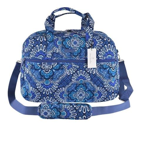 Vera Bradley BLUE TAPESTRY Print Cotton Medium Traveler Weekender Bag