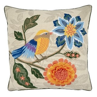 Link to Throw Pillow with Embroidered Birds and Flowers Design Similar Items in Decorative Accessories