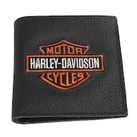 "Harley-Davidson Men's Embroidered B&S Tall Bi-Fold Wallet, XML4352-ORGBLK - 4.5"" x 4.5"""
