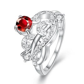 Petite Ruby Red Swirl Abstract Design Petite Ring