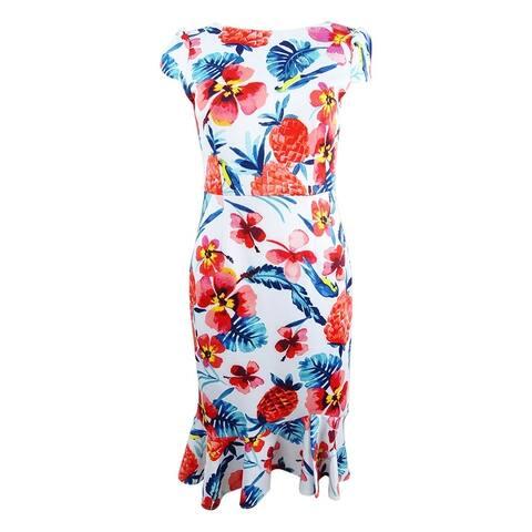 Betsey Johnson Women's Ruffled-Hem Bodycon Dress - Ivory Multi