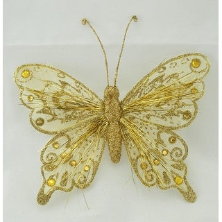 One Dozen, 7 Inch Glitter & Tinsel Butterfly To Add Shimmer To Seasonal & Home Decor - Gold