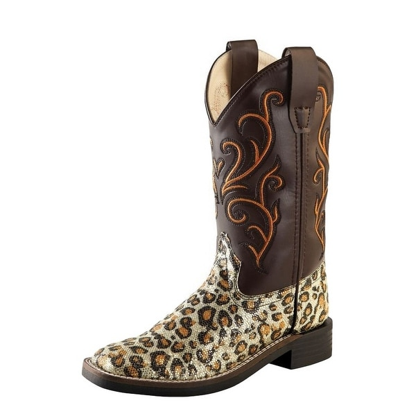 1d58ead5f Shop Old West Cowboy Boots Girls Kids Leopard TPR Outsole Brown ...
