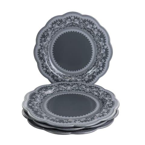Gibson Elite Medallion 4 Piece 10.6 Inch Stoneware Scalloped Dinner Plate Set in Dark Grey