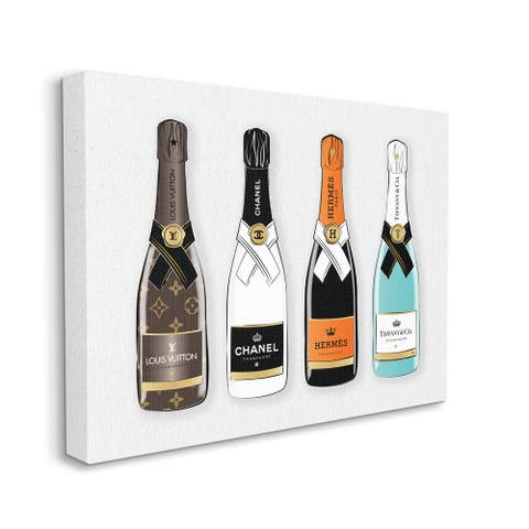 Stupell Industries Glam Fashion Champagne Bottles Style Brand Canvas Wall Art