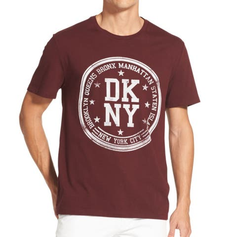 DKNY Mens T-Shirts Red Size Small S Crewneck Logo Print Graphic Tee