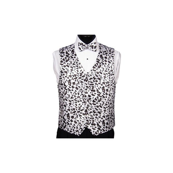9cbe95ade532 Shop Snow Leopard Novelty Tuxedo Vest and Tie - Free Shipping Today -  Overstock - 24224703