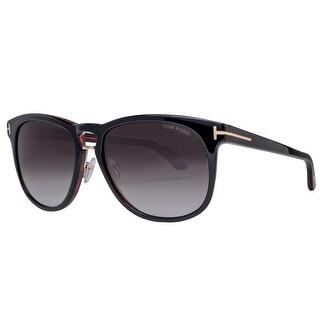 Tom Ford Franklin TF 346 01V 59mm Black/Brown Gray Gradient Square Sunglasses - 59mm-17mm-145mm