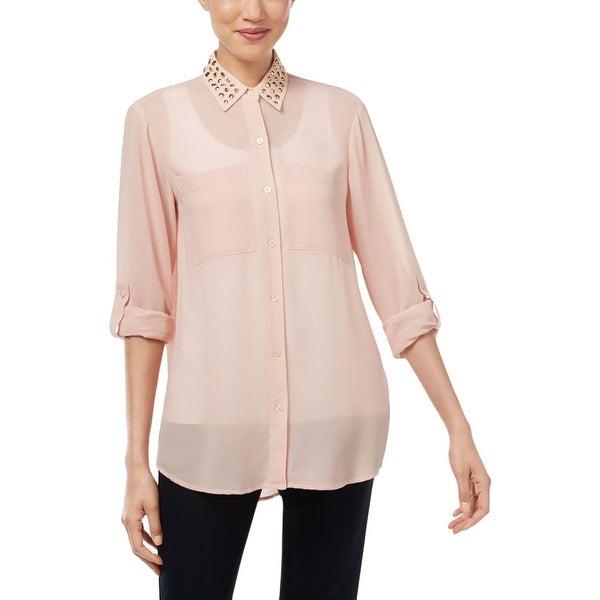 b89d6a6006e3 Shop MICHAEL Michael Kors Womens Button-Down Top Studded Collar ...