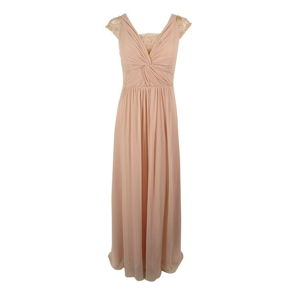 Shop Adrianna Papell Womens Cap Sleeves Lace Chiffon Gown Blush