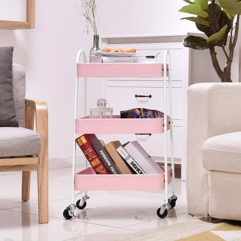 3-Tier Utility Rolling Cart with Large Storage and Metal Wheels