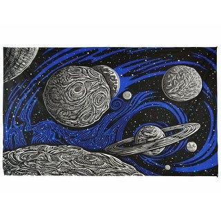 Galactic Outer Space Planetary Psych Art Tapestry Wall Art Beach Sheet